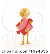 Clipart 3d Orange Man Holding A Solution Puzzle Piece Royalty Free CGI Illustration