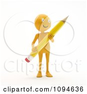 Clipart 3d Orange Man Holding A Pencil 1 Royalty Free CGI Illustration by Mopic