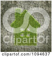 Clipart 3d Grass House On Cracked Dry Mud Royalty Free CGI Illustration