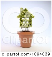 Clipart 3d House Shaped Plant In A Terra Cotta Pot Royalty Free CGI Illustration