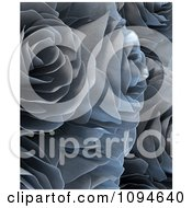 Clipart 3d Silver Metal Roses Royalty Free CGI Illustration