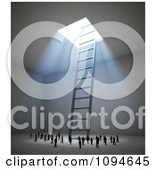 Clipart 3d Small People Gathering Around A Ladder Leading To Bright Light Royalty Free CGI Illustration by Mopic