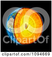 Clipart 3d Earth Shown With Visible Geological Layers Royalty Free CGI Illustration