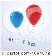 Clipart Small People Holding Onto 3d Red And Blue Balloons Royalty Free CGI Illustration by Mopic