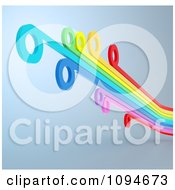 Clipart 3d Rainbow Lines With Circle Tips On A Shaded Background Royalty Free CGI Illustration