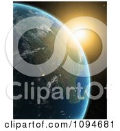 Clipart The Sun Rising Over A 3d American Earth Royalty Free CGI Illustration