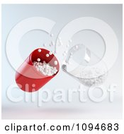 Clipart 3d Red And Transparent Pill Capsule With White Pieces Of Medicine Royalty Free CGI Illustration by Mopic