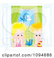 Clipart Boy And Girl Watching A Blue Bird At An Open Window Royalty Free Vector Illustration