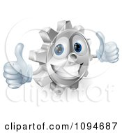 Clipart 3d Smiling Gear Cog Holding Two Thumbs Up Royalty Free Vector Illustration by AtStockIllustration