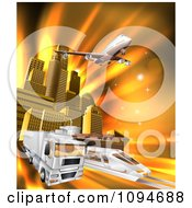 Clipart 3d Big Rig Truck Airplane And Train Leaving A City Over Orange Rays Royalty Free Vector Illustration by AtStockIllustration