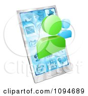 Clipart Social Networking Avatars Over A 3d Cell Phone Royalty Free Vector Illustration