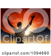Clipart Silhouetted Religious Man Holding His Arms Up With Rays And Mountains Royalty Free Vector Illustration