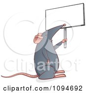 Gray Mouse Holding Up A Sign