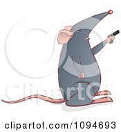 Clipart Gray Mouse Holding A Gun Royalty Free Vector Illustration by Paulo Resende