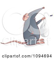 Clipart Gray Mouse Holding Up A Computer Mouse Royalty Free Vector Illustration by Paulo Resende