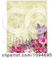 Clipart Background Of Pink And Purple Flowers Over Tan Texture Royalty Free Vector Illustration