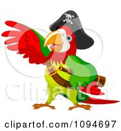 Clipart Parrot Pirate Lifting A Wing Royalty Free Vector Illustration