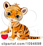 Clipart Cute Baby Tiger Cub Resting His Paw On A Ball Royalty Free Vector Illustration