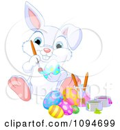Clipart Cute White Bunny Painting Easter Eggs Royalty Free Vector Illustration