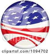 Oval Light Reflecting Off Of An American Flag Badge