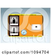 Clipart Orange Media Player Compass And People Website Template Design Royalty Free Vector Illustration by michaeltravers