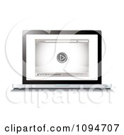 Clipart 3d Laptop Computer Open To An Internet Video Player And Control Buttons Royalty Free Vector Illustration by michaeltravers
