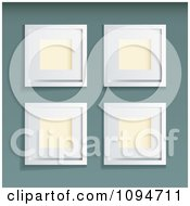 Clipart Four 3d Blank White Picture Frames On Green Royalty Free Vector Illustration