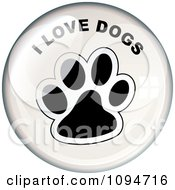 Clipart Oval Light Reflecting Off Of An I Love Dogs Paw Print Badge Royalty Free Vector Illustration by michaeltravers