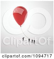 Clipart Small People Holding Onto A 3d Red Balloon Royalty Free CGI Illustration by Mopic