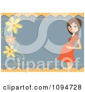 Clipart Pregnant Brunette Woman Holding Her Baby Bump Bridal Shower Border With Flowers And Copyspace Royalty Free Vector Illustration by peachidesigns