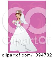 Clipart Gorgeous Brunette Bride Holding Her Bouquet Over Pink With Swirls And Copyspace Royalty Free Vector Illustration
