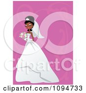 Clipart Gorgeous Black Or Indian Bride Holding Her Bouquet Over Pink With Swirls And Copyspace Royalty Free Vector Illustration