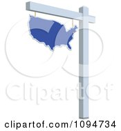 Clipart Blue Real Estate USA Map Sign Royalty Free Vector Illustration