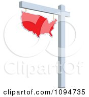 Clipart Red Real Estate USA Map Sign Royalty Free Vector Illustration by BestVector