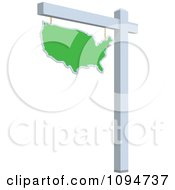 Clipart Green Real Estate USA Map Sign Royalty Free Vector Illustration