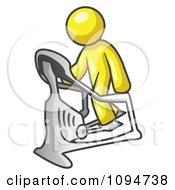 Royalty Free RF Clipart Illustration Of A Yellow Man Exercising On A Stair Climber During A Cardio Workout In A Fitness Gym