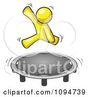Royalty Free RF Clipart Illustration Of A Yellow Man Jumping On A Trampoline