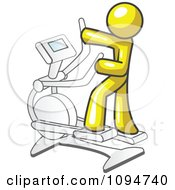 Clipart Yellow Man Exercising On A Cross Trainer Royalty Free Vector Illustration