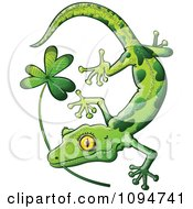Clipart St Patricks Day Gecko Biting A Shamrock Royalty Free Vector Illustration by Zooco