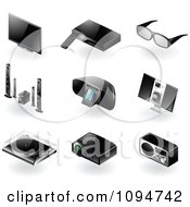 3d Black Modern Tv And Radio Home Entertainment Icons