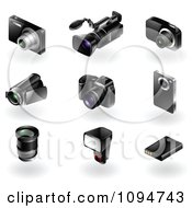 Clipart 3d Black Modern Camera And Video Recorder Icons Royalty Free Vector Illustration