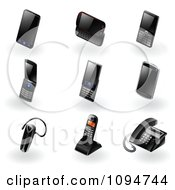 3d Black Modern Cell Phone Ear Piece And Landline Telephone Icons