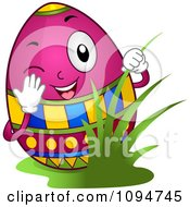 Clipart Happy Easter Egg Peeking Through Grass Royalty Free Vector Illustration