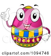 Clipart Happy Easter Egg Holding A Thumb Up Royalty Free Vector Illustration by BNP Design Studio