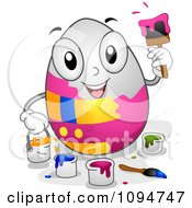 Clipart Happy Easter Egg Painting Itself Royalty Free Vector Illustration