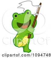 Clipart Cute Green Frog Waving A Flag Royalty Free Vector Illustration by BNP Design Studio