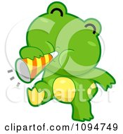 Clipart Cute Green Frog Blowing A Party Horn Royalty Free Vector Illustration by BNP Design Studio