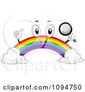 Clipart Happy Rainbow Holding A Magnifying Glass Royalty Free Vector Illustration