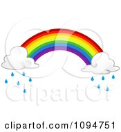 Clipart Rainbow With Rain Clouds On The Ends Royalty Free Vector Illustration