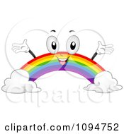 Clipart Happy Rainbow Holding Its Arms Up Royalty Free Vector Illustration